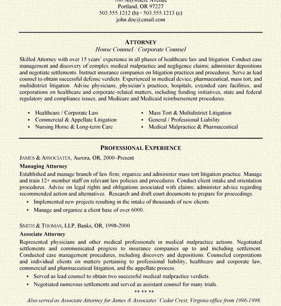 Impressive Design Ideas Sample Attorney Resume 11 Example - CV ...