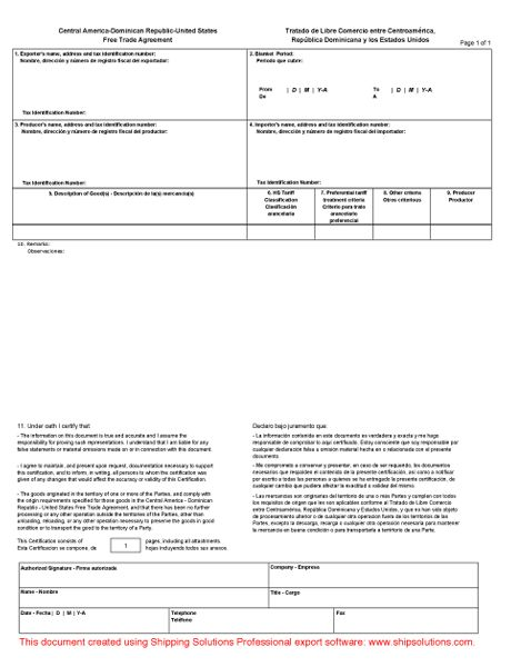 U.S. -CAFTA-DR Certificate of Origin