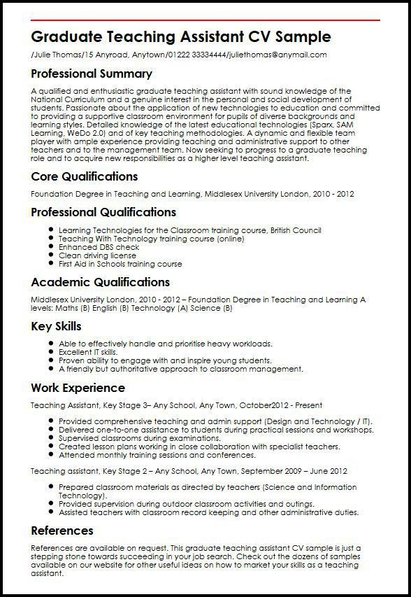 Graduate Teaching Assistant CV Sample | MyperfectCV