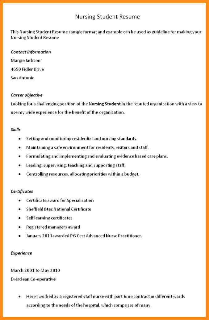 objective for nursing student resume example student nurse resume