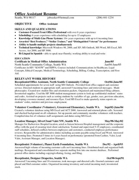 Brilliant Front Office Assistant Resume | Resume Format Web