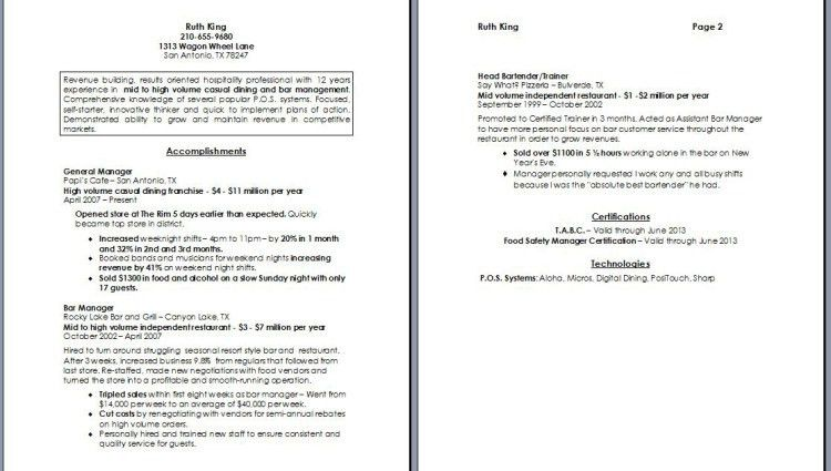 restaurant manager resume fine dining by ruth king - Writing ...