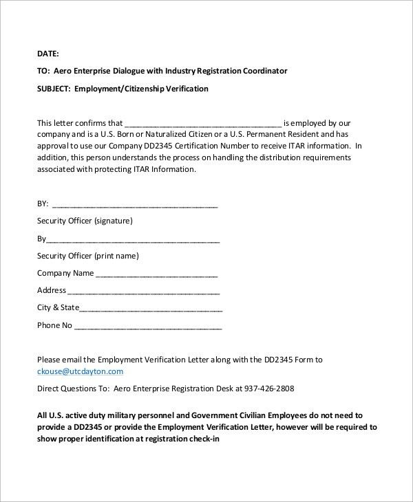 Sample Employment Verification Letter - 8+ Examples in Word, PDF