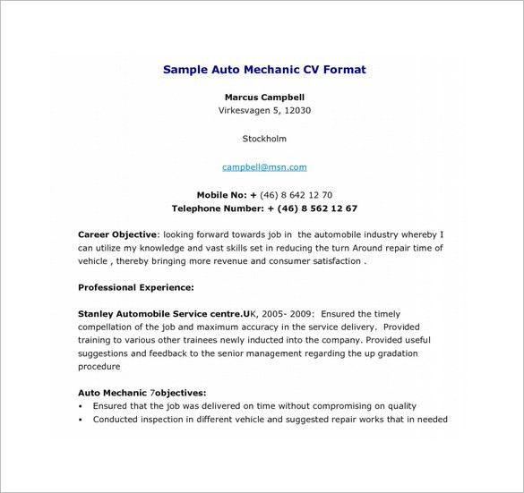 28+ [ Auto Mechanic Resume Template ]   Mechanic Cv Example For ...