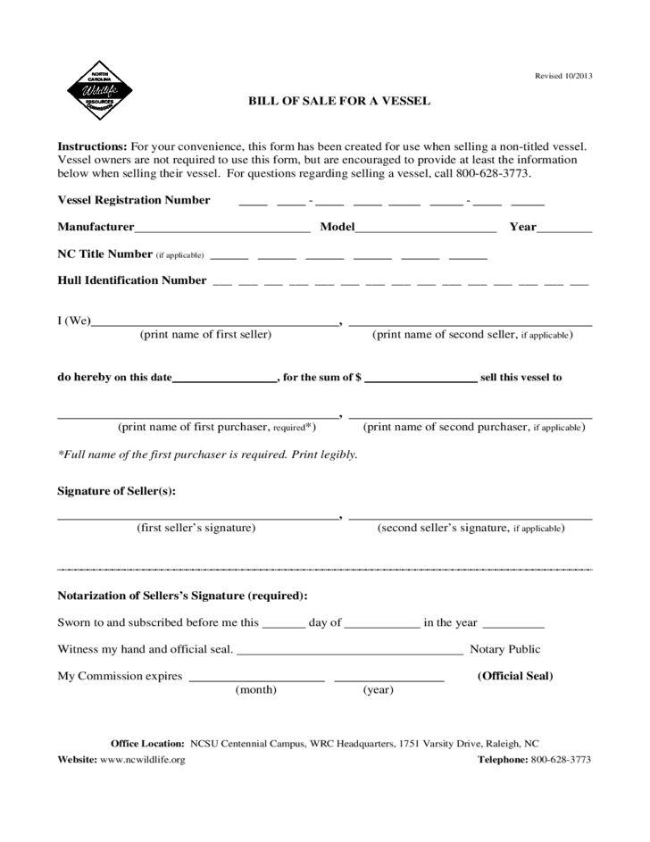 Bill of Sale for a Vessel - North Carolina Free Download