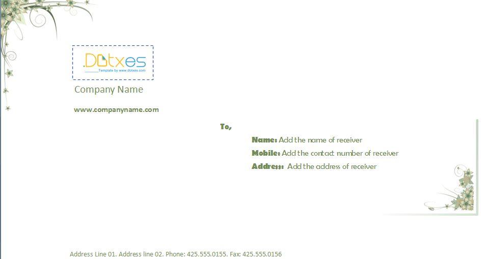 Business envelope template (4.14 x 9.5) - Dotxes