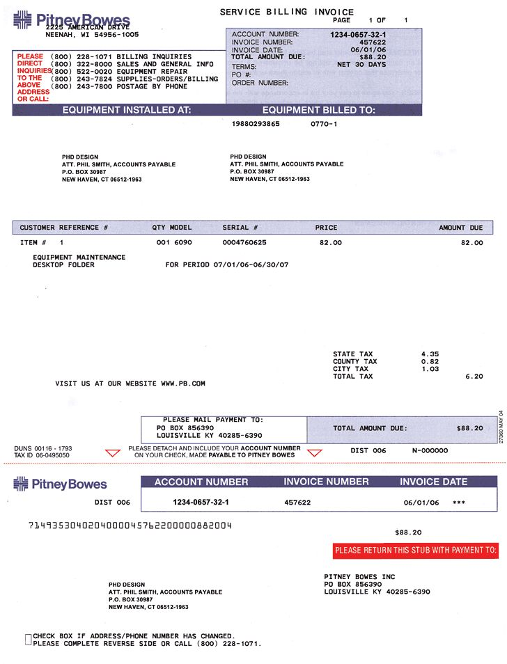 Sample Gallery Detail: Pitney Bowes Service Invoice | Pitney Bowes ...