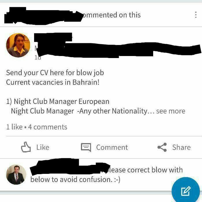 Send your CV for blow job : indianpeoplefacebook