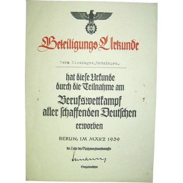 Reich Berufswettkampf certificate for the competition winner