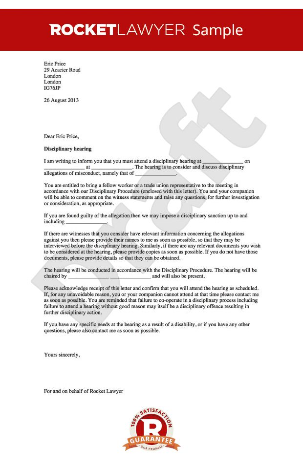 Hearing Letter - Notice of Disciplinary Hearing