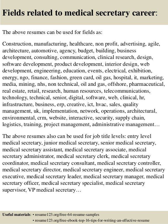 Top 8 medical secretary resume samples