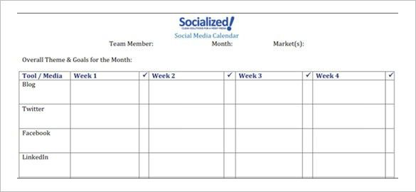 Social Media Schedule Template – 10+ Free Sample, Example Format ...