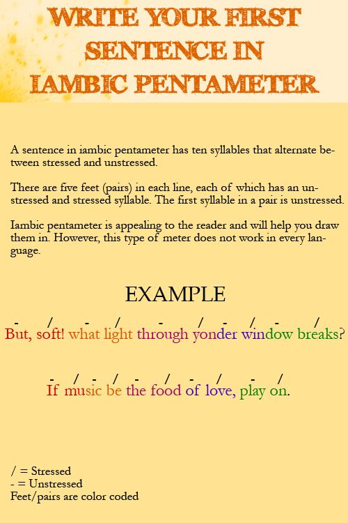 Write Your First Sentence in Iambic Pentameter - The Writing Café ...