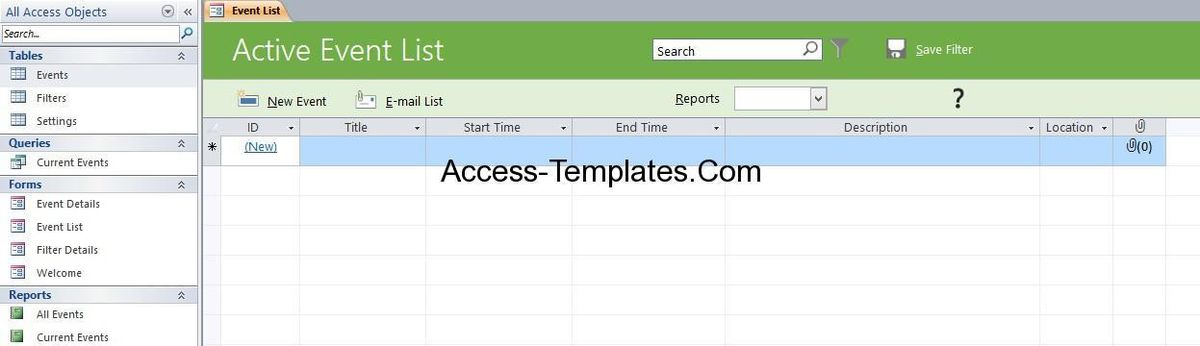 Microsoft Access Event Management Template Database | Access ...