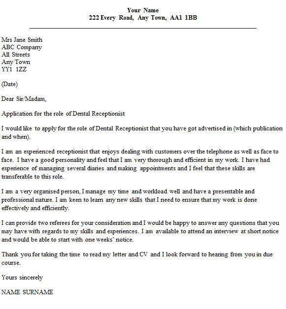 dental receptionist cover letter example. covering letter charity ...