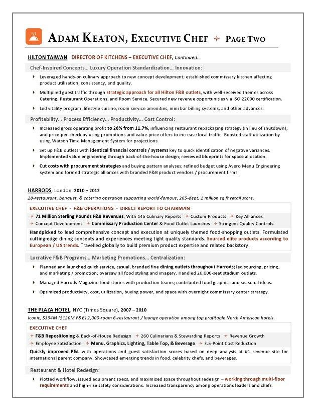 award nominated executive chef sample resume executive resume