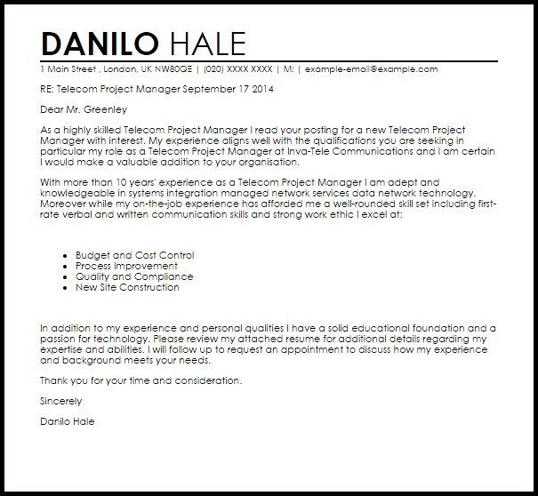 Telecom Project Manager Resume | The Best Letter Sample