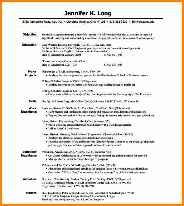 Internship Resume. Resume For Internship Example Free Doc Resume ...