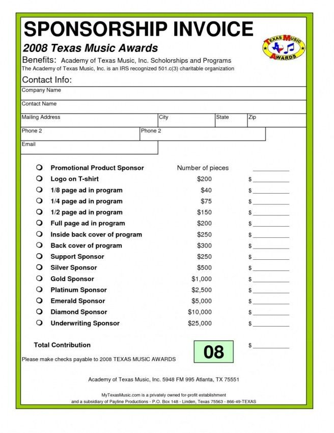 Download Sponsorship Invoice Template Word | rabitah.net