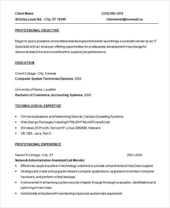 It Resumes Entry Level. entry level resume templates template ...