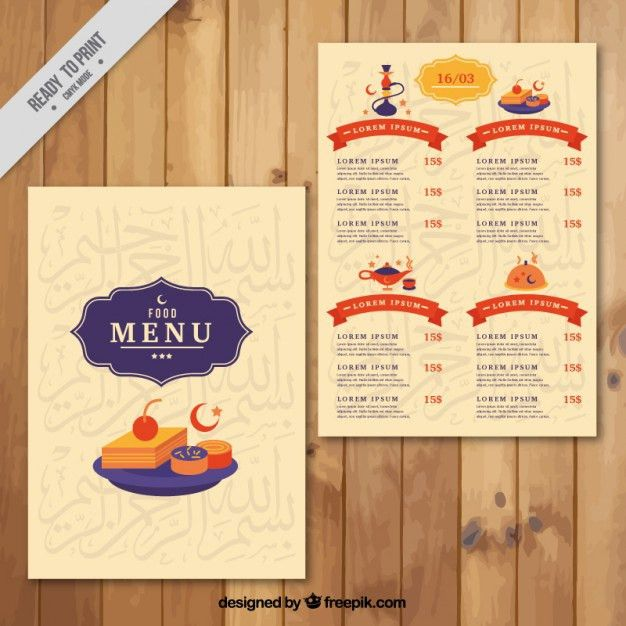 Cute arab menu template with dishes Vector | Free Download