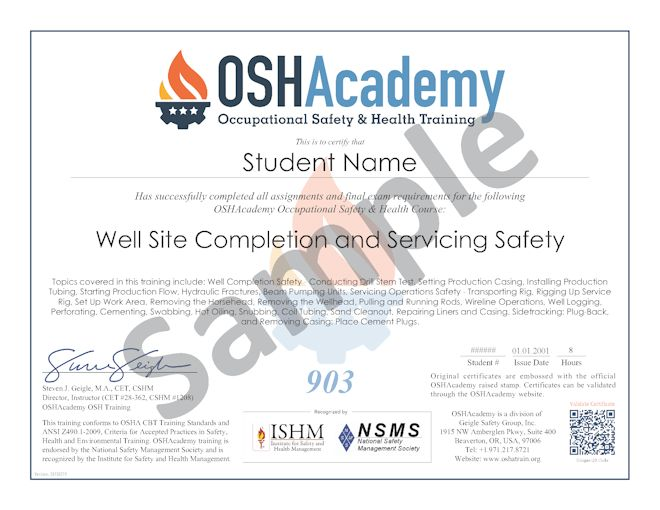 Oil Gas Well Site Completion and Servicing Safety Training