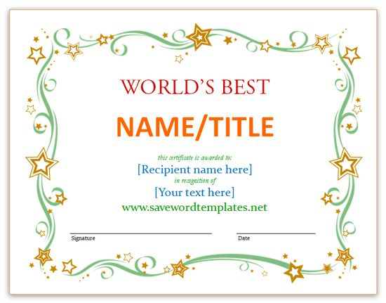 Certificate Templates - Save Word Templates