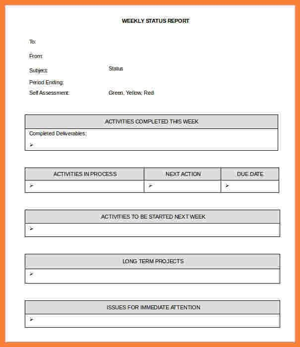 3+ weekly employee status report template | Progress Report