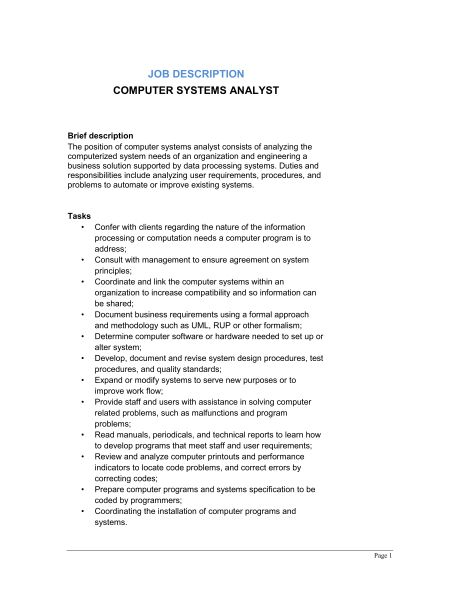 Computer System Analyst Job Description - Template & Sample Form ...