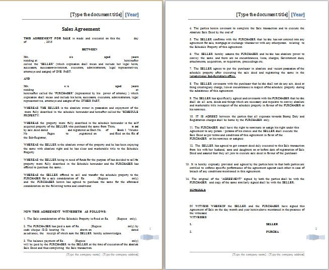 MS Word Sales Agreement Template | Free Agreement Templates