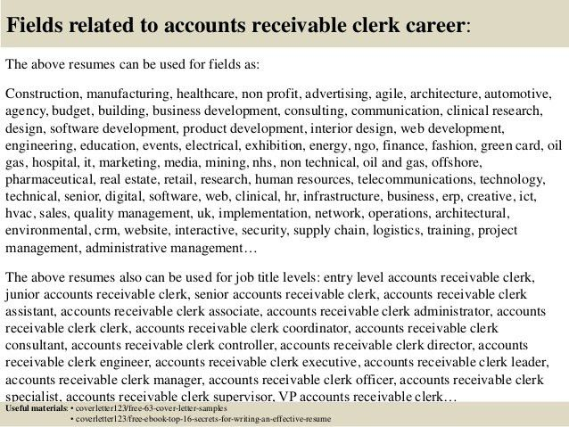 Cover Letter Sample Accounts Receivable Clerk