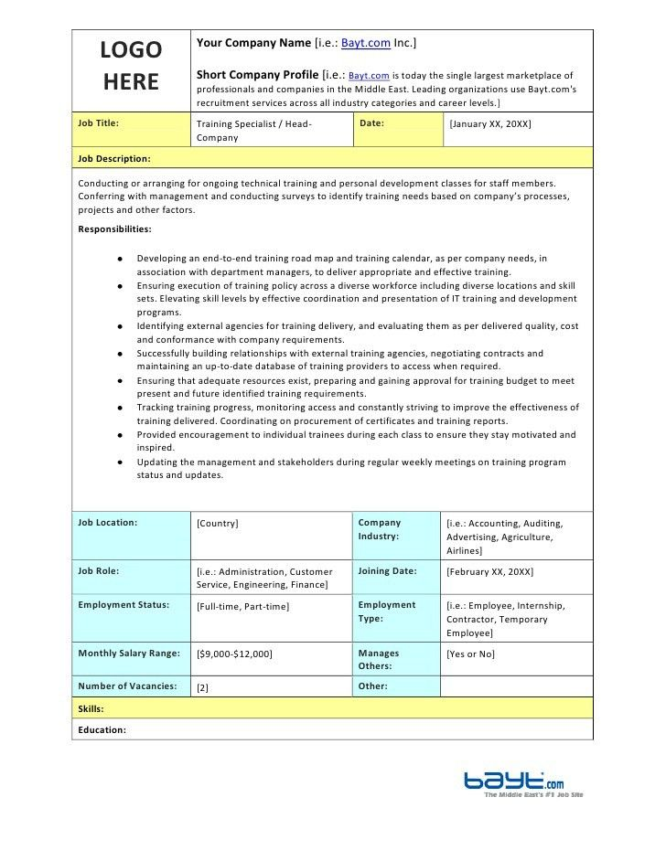 Training Specialist Job Description Template by Bayt.com