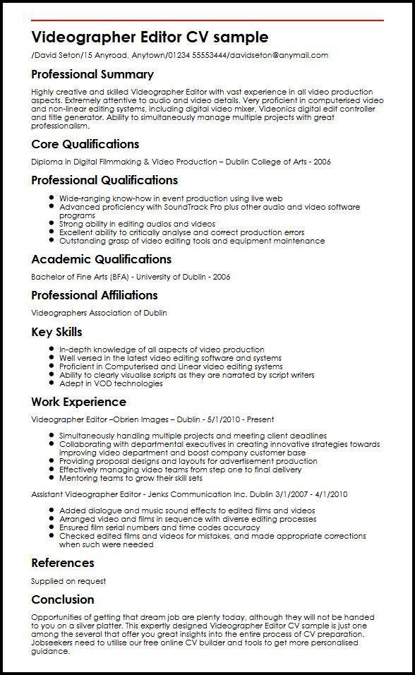 Videographer Editor CV sample | MyperfectCV