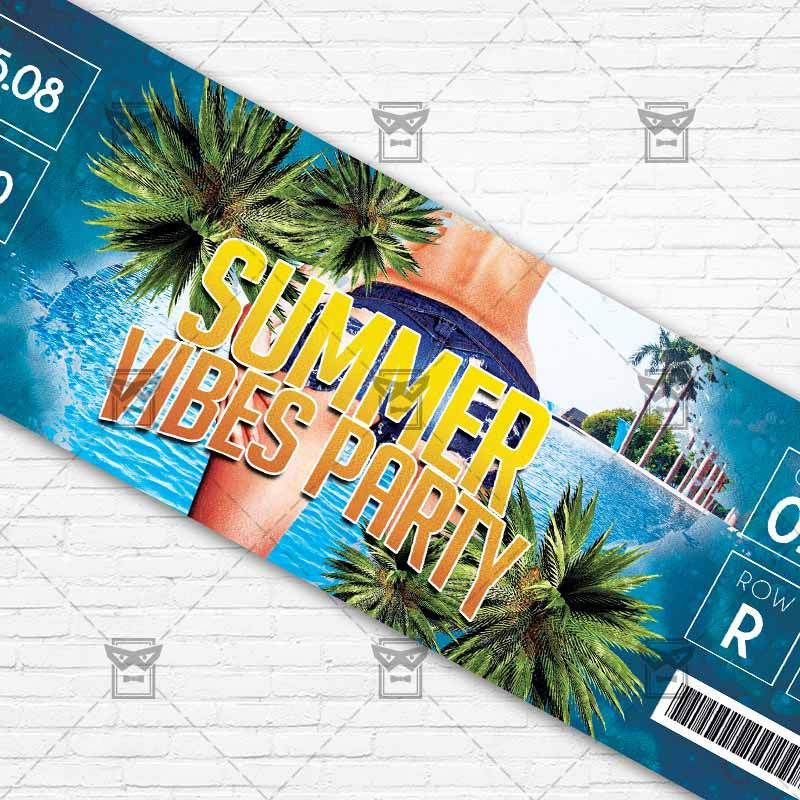 Summer Vibes Party – Premium PSD Ticket Template | ExclsiveFlyer ...