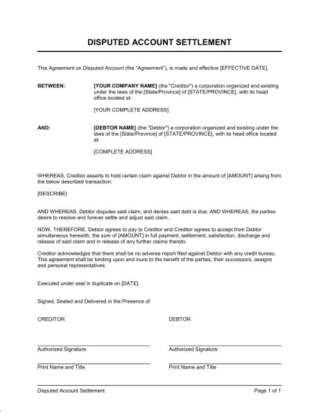 Settlement Offer on Disputed Account - Template & Sample Form ...