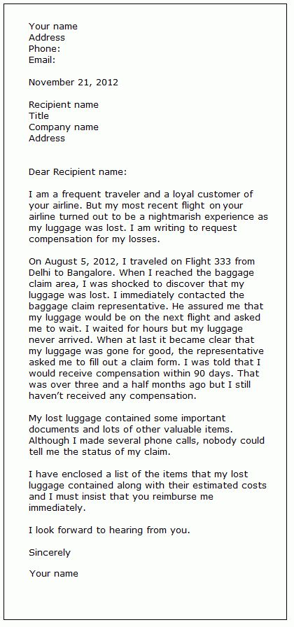 Complaint letter sample 3 | Formal letter samples