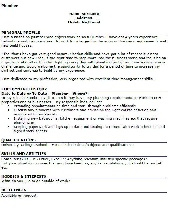 Plumber CV Example - icover.org.uk