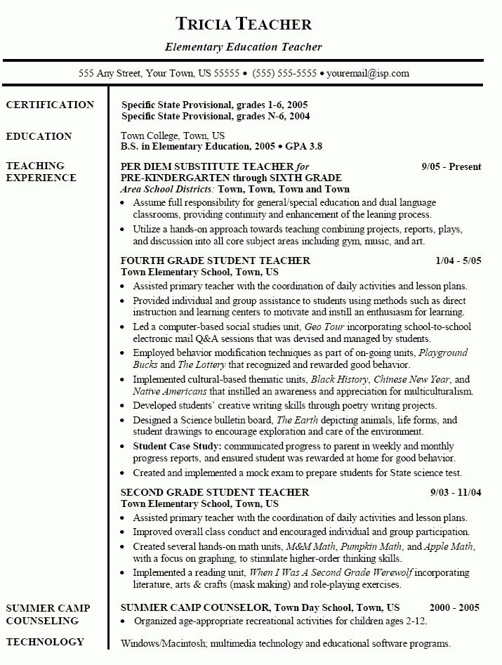 Elementary Teacher Resume Objective Examples. elementary teacher ...