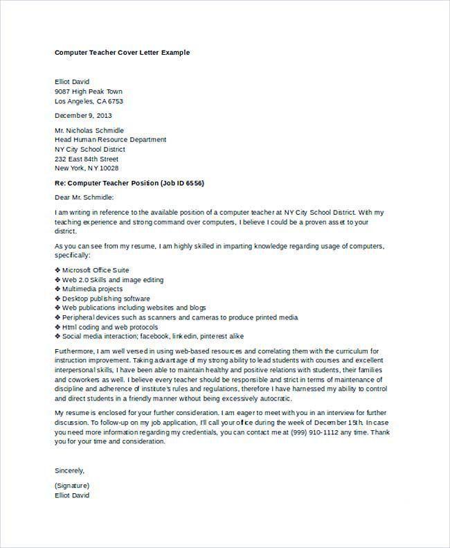 cover letter for teacher format. application letter for employment ...