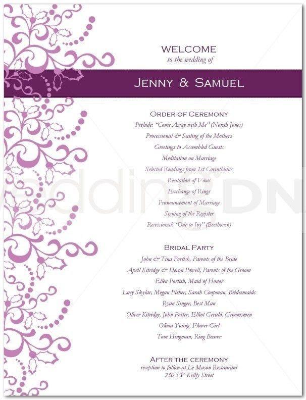 One Page Wedding Program Template | the-ceramic-cookware.com