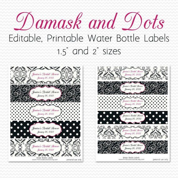 Water Bottle Labels Black and White Hot Pink Damsak and