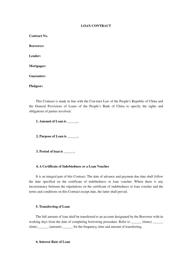 Simple and Editable Loan Contract Agreement Template Sample ...