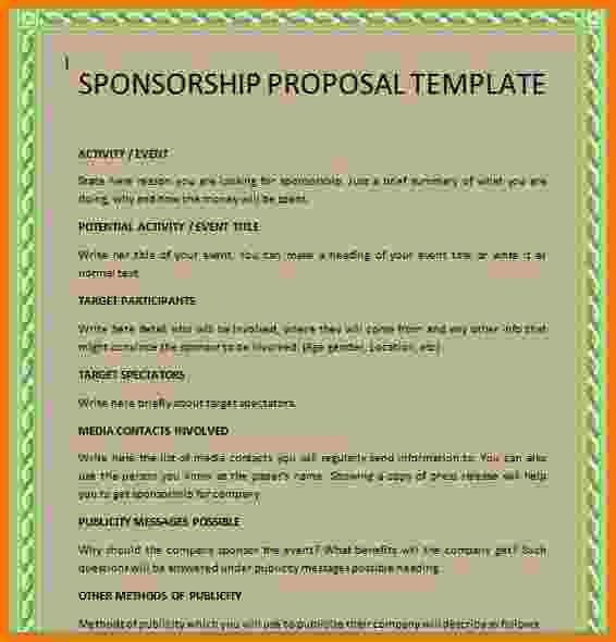 7+ sponsorship proposal template | Itinerary Template Sample