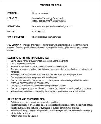 Computer Programmer Job Description Sample   11+ Examples In Word, PDF
