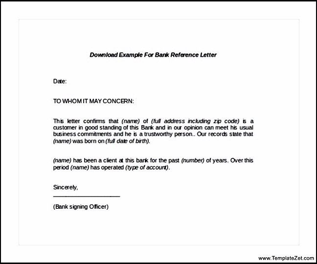 Download Example for Bank reference Letter | TemplateZet