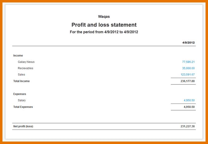 7+ profit & loss template   Itinerary Template Sample