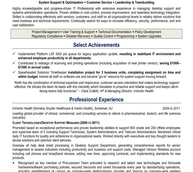 Awesome Desktop Support Technician Resume 4 Computer Tech Support ...