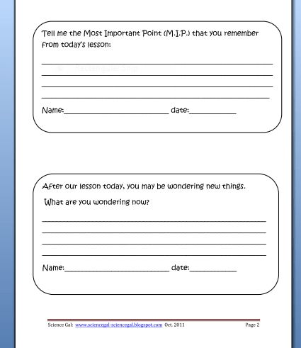Exit Cards - examples of questions that can be used | Education ...