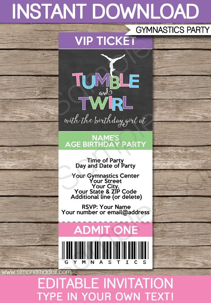 Gymnastics Party Ticket Invitations | Birthday Party