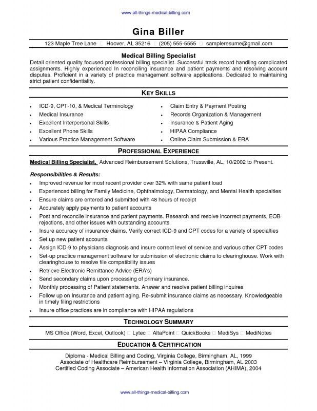 Medical Coding And Billing Resume | Samples Of Resumes
